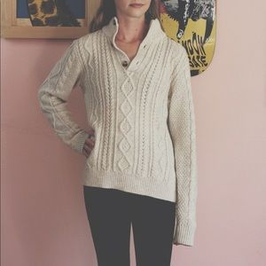 GAP Cable Knit Sweater with Faux Shearling Collar